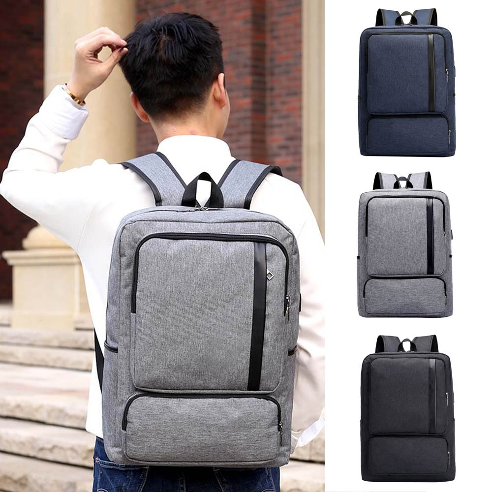Men's USB Backpack Computer Bag Simple Business Backpack Anti-theft Pack Travel Solid Bag Phone Pocket Dropship Y710(China)