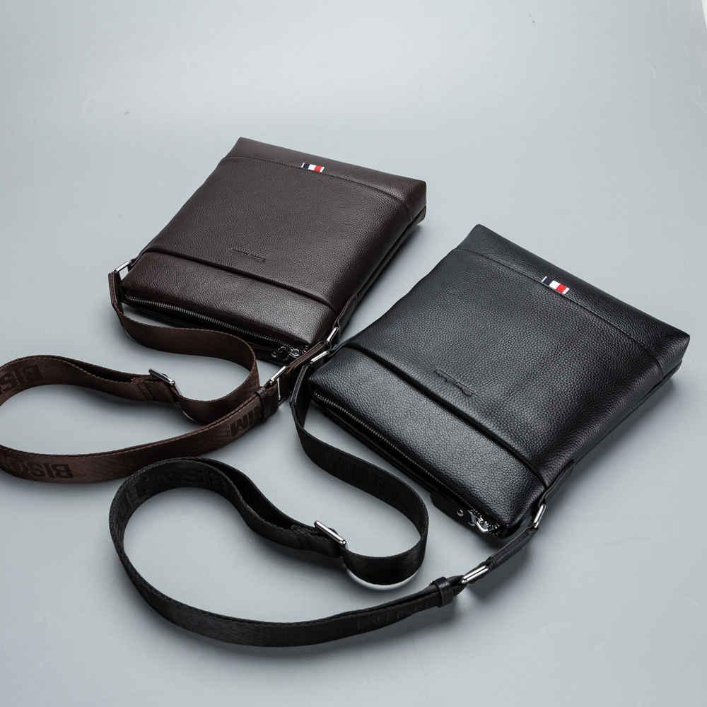 BISON DENIM homens marca de moda business casual de um ombro crossbody saco de couro genuíno dos homens sacos do mensageiro