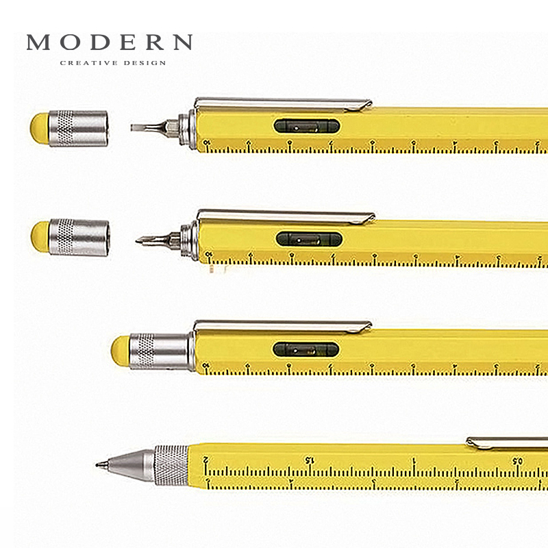 Modern Multi-purpose capacitor pen Ball-point pen straight cross screwdriver air level scale tomtosh 1pieces cute creative stationery new led flashlight multi purpose ball point pen