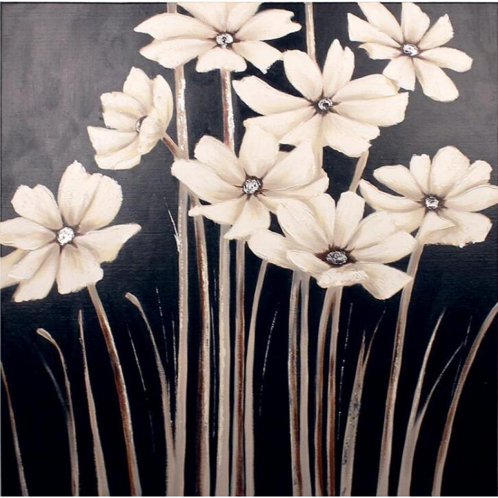 Abstract Flower canvas painting White Daisies Floral ...