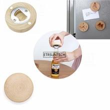 10PCS Blank DIY Wooden Round Shape Bottle Opener Coaster Fridge Magnet Decoration Beer Bottle Opener