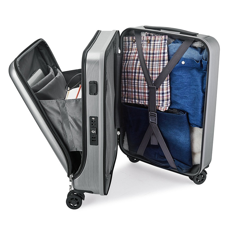LeTrend 20 inch Creative Flip cover Rolling Luggage Spinner UBS Trolley Suitcase Wheels Women men Cabin