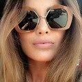 Nueva Tendencia Diseñador de la Marca de Medio Marco de Gran Tamaño gafas de Sol de Lujo Personalidad Calle Snap Mujeres Hombres Gafas de Sol UV400 Oculos De Grau