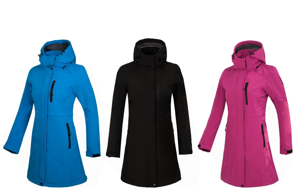 New Women Outdoor Sports In The Long Soft-shell Stormfront Clothing Windproof Thermal Mountaineering Camping Cycling Fishing Cl