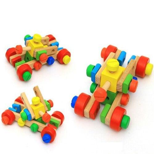 Vis en bois jouet éducatif bricolage assemblage montessori bébé intelligece variété multi-fonction écrou combinaison enfants puzzle - 2