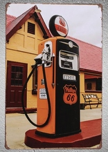 1pc Route 66 Gas station Ethyl Petrol Tin Plate Sign wall man cave Decoration Man Art Poster metal vintage