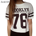 Z&KOZE 2016 Designer Fashion Punk BROOKLYN 76 Printed Emoji T Shirt Summer Short Sleeve Women O-neck Harajuku Tee Crop Tops