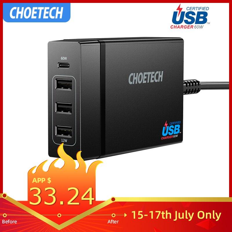 Chargeur de bureau CHOETECH 72W 4 ports USB type C avec livraison d'énergie pour iPhone X 8 Plus chargeur de téléphone portable MacBook Pro