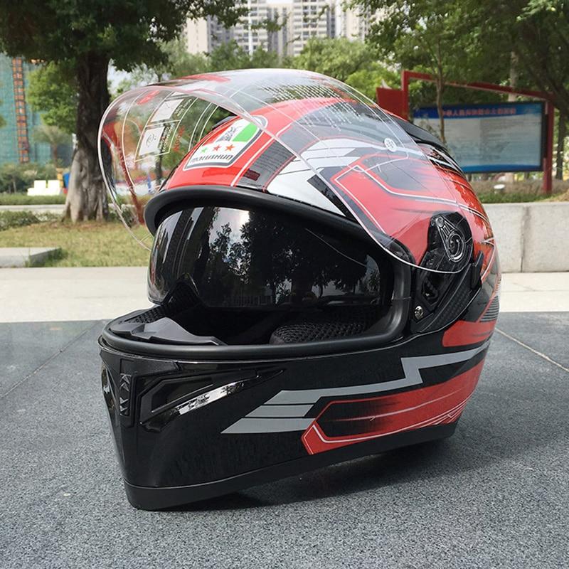 Winter Double Lens Motorcycle Helmet With Inner Sun Visor Flip Up Men And Women Modular Casco Female Capacete