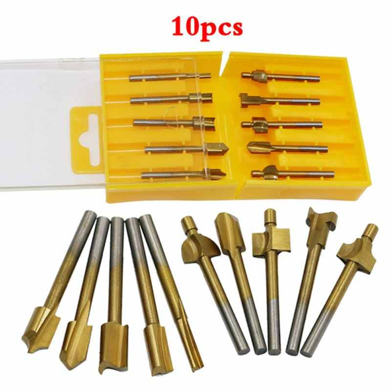 "10pcs 1/8"" HSS Titanium Coated Woodworking electric trimming machine Router Bits Wood Cutter Milling used for Dremel"