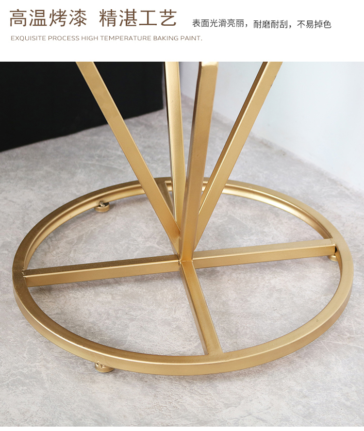 Nordic iron coffee table side golden living room round sofa shelf side table tempered glass coffee table bedside small cabinet.