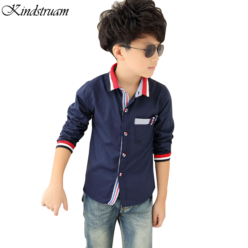 2017 Spring Casual Shirts for Boys Striped Collar Trend Style Children Long Sleeve Cotton Dress Shirt