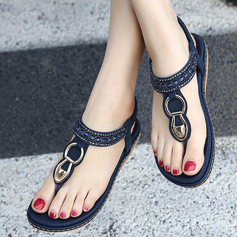 New Summer Flip Flops Women Sandals Buckle Leisure Fashion Beach Bohemian Footwear Women Casual Shoes Concise Flat Sandals BT563