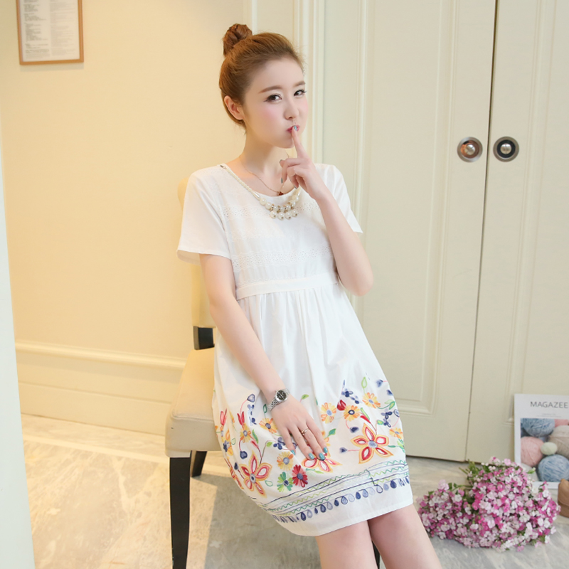 Floral Maternity Clothes Novelty Pregnancy Dress Summer Chiffon Loose Flower Print Maternity Clothing Of Pregnant Women