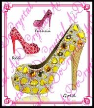 Aidocrystal Frauen Gold Gelb Kristall Strass Diamant Offene spitze High Heel Pumpe Hochzeit Schuhe für Braut Formelle kleidung Schuhe