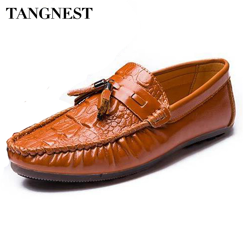 Tangnest New Men Tassel Loafers Luxury Soft Leather Men Slip On Flats Casual Moccasins Driver Shoes For Male Black Brown XMR2521 2017 autumn fashion men pu shoes slip on black shoes casual loafers mens moccasins soft shoes male walking flats pu footwear