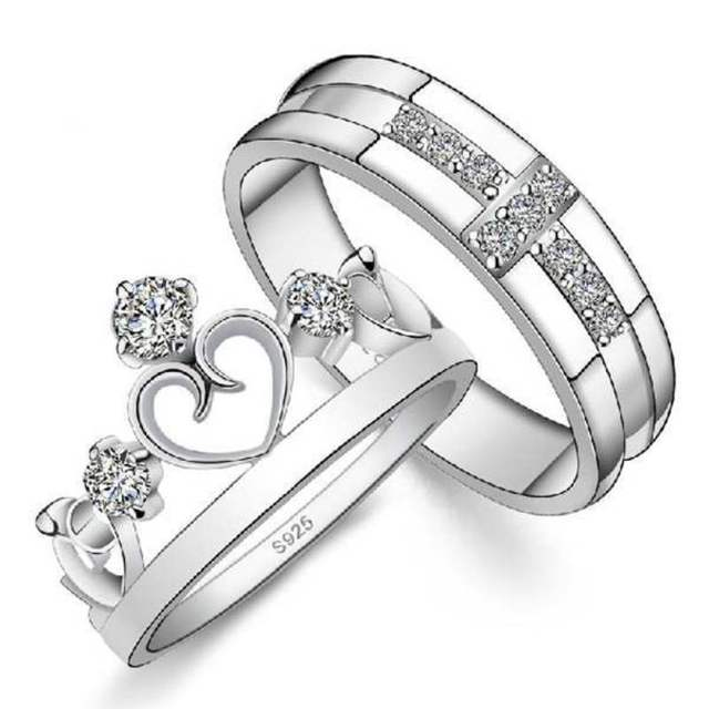 Silver Plated Cross Crown Ring Couple Female Wedding Bands Rings For Men And Women Sets Fashion