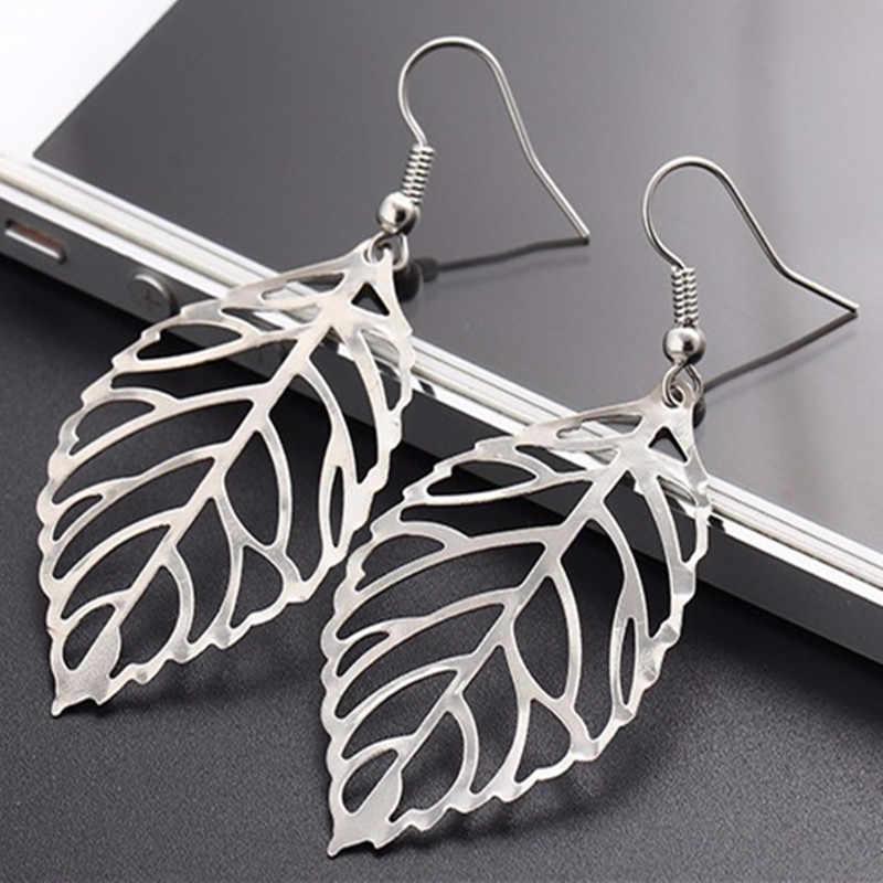 2018 Hot fashion  jewelry metal leaves earrings dangling long Statement earrings for women