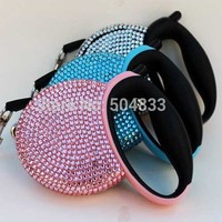3meter Retractable small Dog Leash full of rhinestones bling bling pets lead leashes pink blue sliver