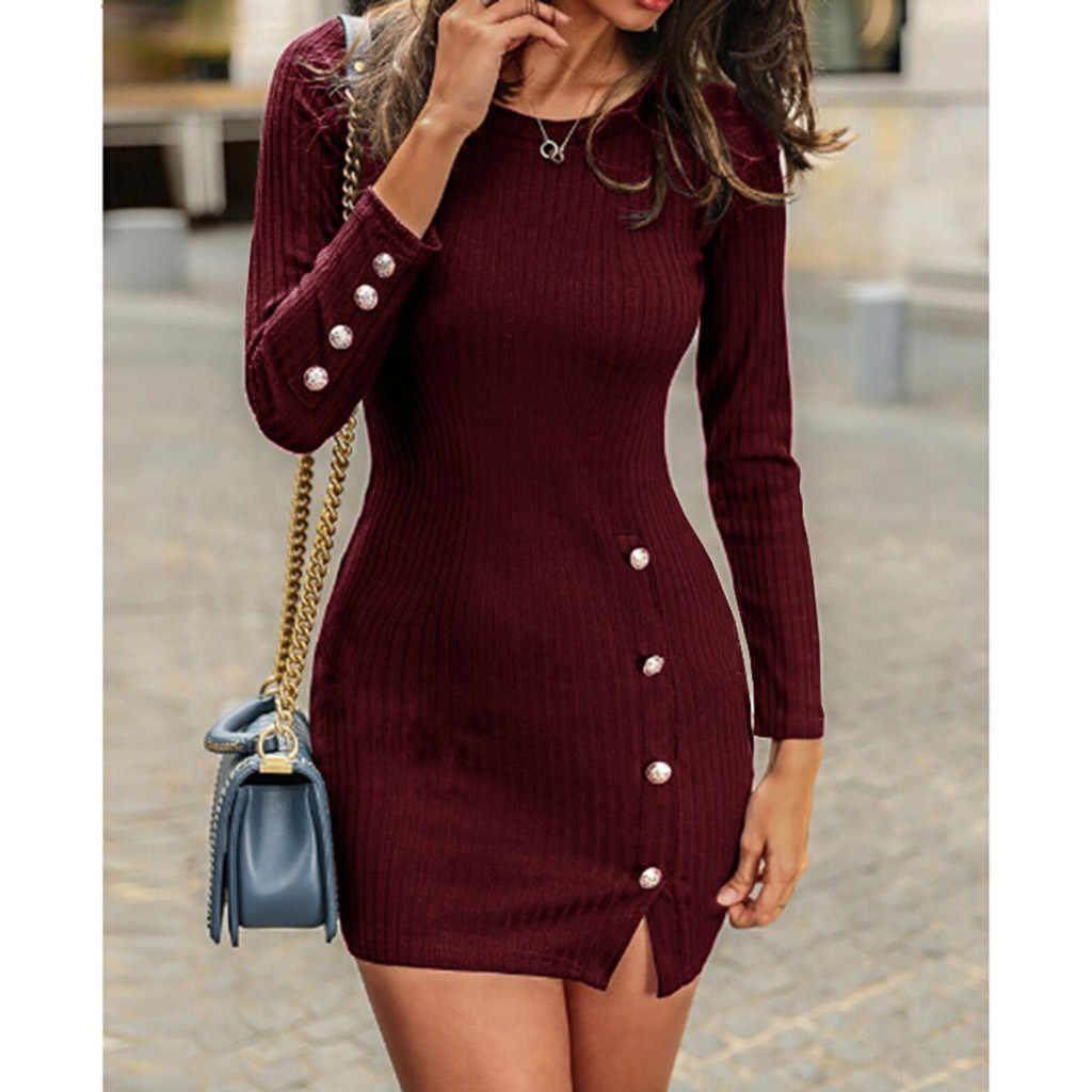 Для женщин однотонные Цвет обтягивающая Сексуальная кнопка с длинным рукавом Разделение Повседневное Платья-свитеры 2019 Новое поступление хорошее качество красный зимнее платье