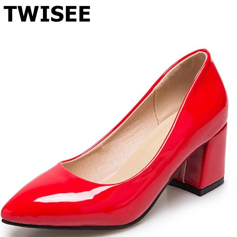 Pointed Toe spring pumps Patent pu leather sapatos femininos high heels shoes woman Square heels 6 cm dress shoes low heels naruto figure ninja hyuuga hinata hyuga figure uzumaki naruto gem pvc action figure toy collection model gift