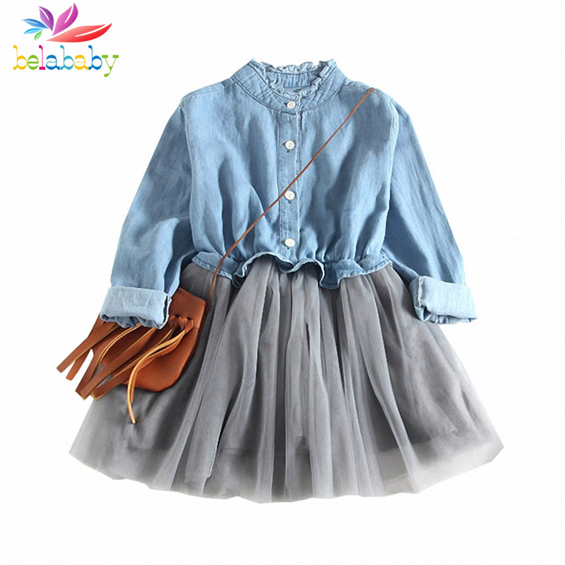 Belababy Baby Girls Dress Princess Ball Gown New Spring Denim Costume For Kids Clothes Long Sleeve Mesh TUTU Children Dresses geo