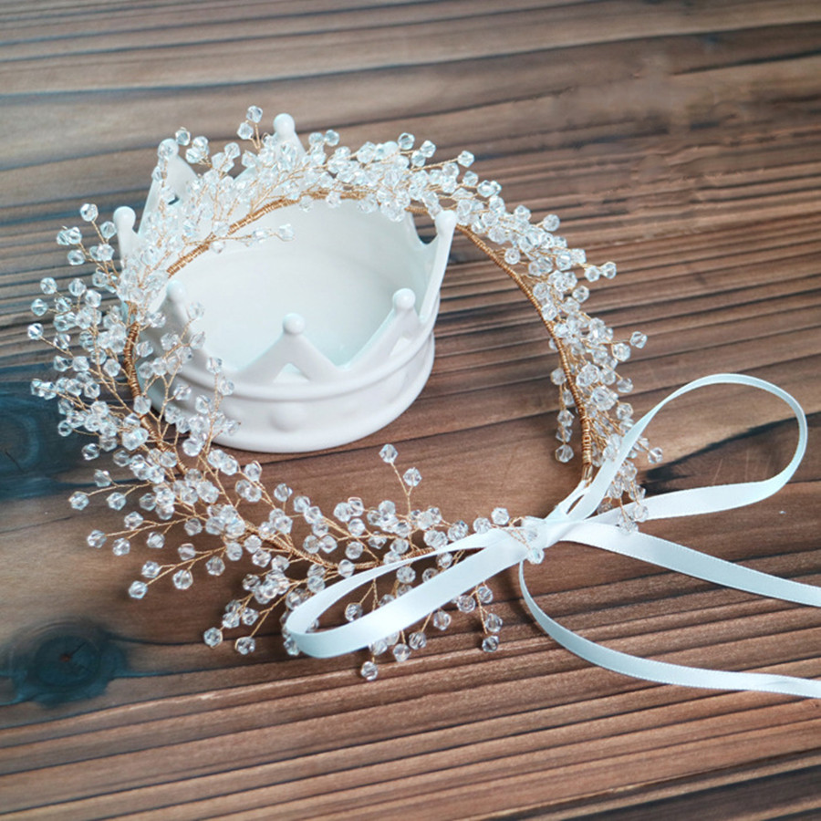 1pc/lot Bridal Crystal Hair Accessories For Women Headband hair band barrettes Crown Handmade Fairy Headpiece Parting Jewelry