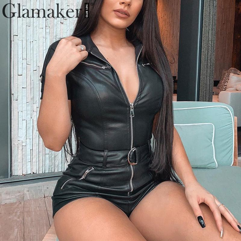 Glamaker Elastic PU Leather Short Jumpsuit Women Sexy Zipper Black Bodycon Autumn Playsuit Club Party Overalls Jumpsuit Romper