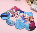 value pack cotton children cartoon short socks girls kids Princess Elsa 3D printed Brand ankle socks 4pairs/set