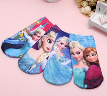 Value pack хлопка детей мультфильм короткие носки девушки дети Принцесса Эльза 3D напечатаны Бренд носки 4 пар/компл.