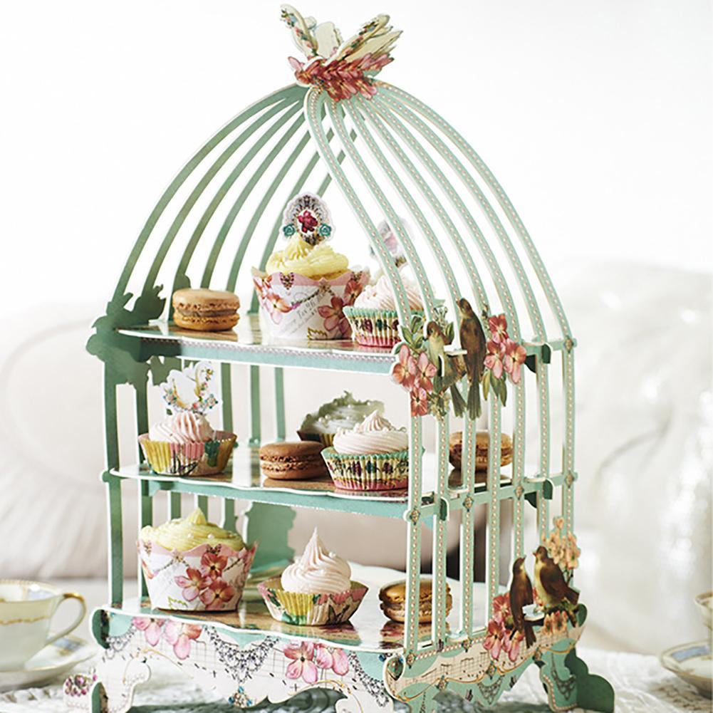 Europaischen Stil 3 Schichten Birdcage Cupcake Karton Tortenstander