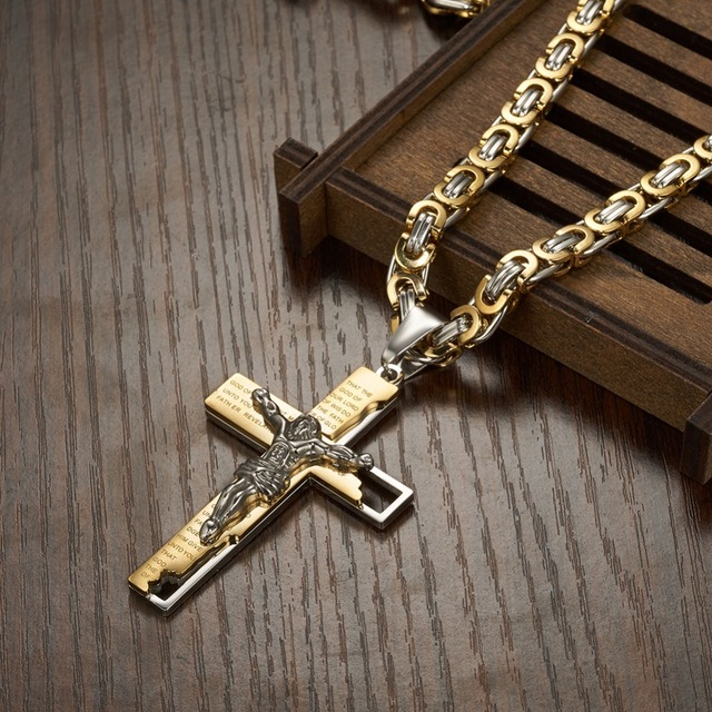 6mm Flat Byzantine Chain Necklace For Men's Neck Jewelry Stainless Steel Silver Gold Black Color Jesus Cross Pendant