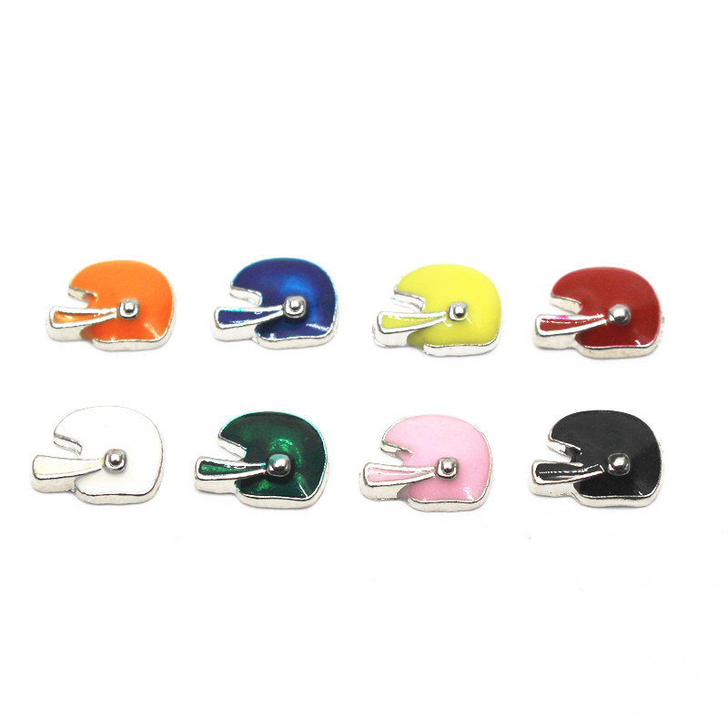 Wholesale Mix 8 10pcs/lot football helmet floating charms sports charms living glass memory lockets diy jewelry