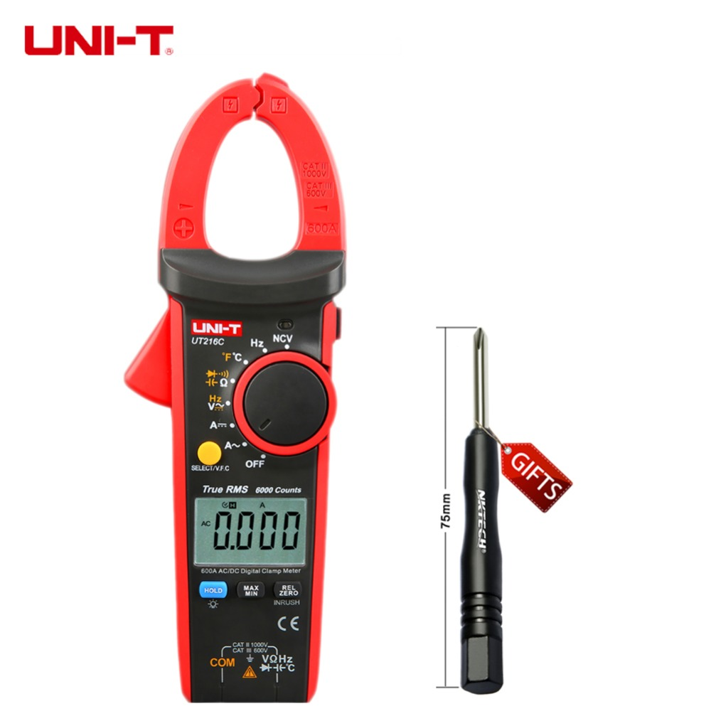 600A True RMS Digital Clamp Meters Auto Range W Frequency Capacitance Temperature NCV Test Megohmmeter UNI