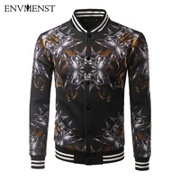 Envmenst 2017 New Style Spring Autumn Overcoat Men Fashion 3D Printed Stand Collar Slim Casual Style