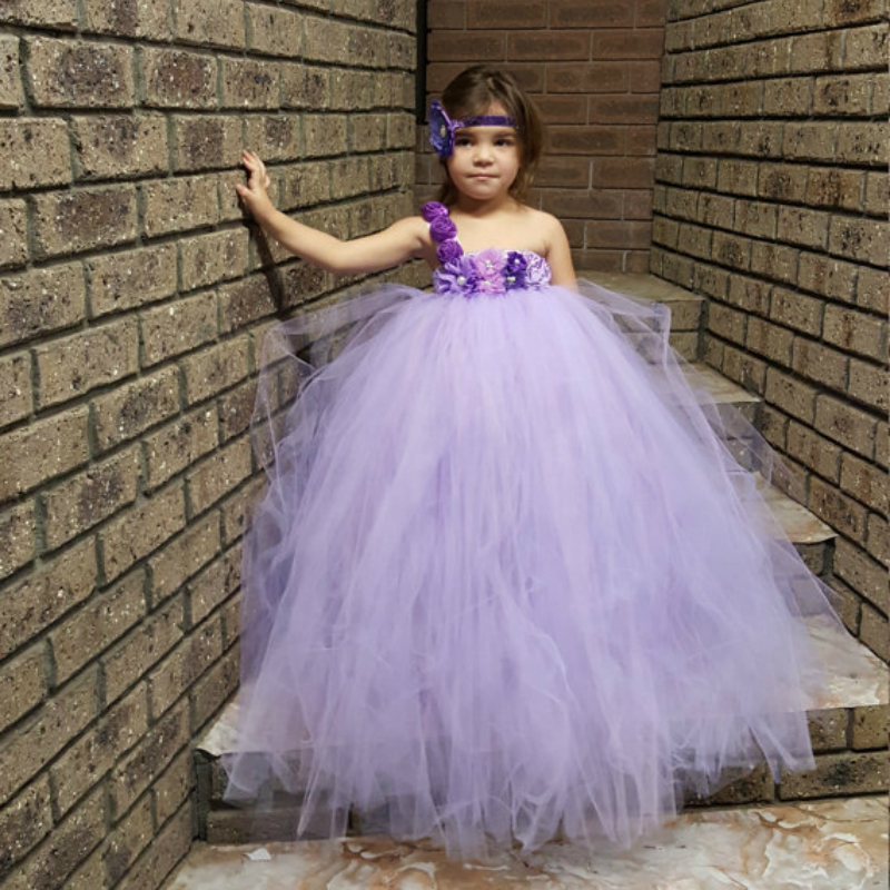Lavender Lilac Flower Girl Tutu Dress for Wedding Party Pastel Lavender Kids Girls Dress Elegant Bright Party Baby Girl Clothes цена