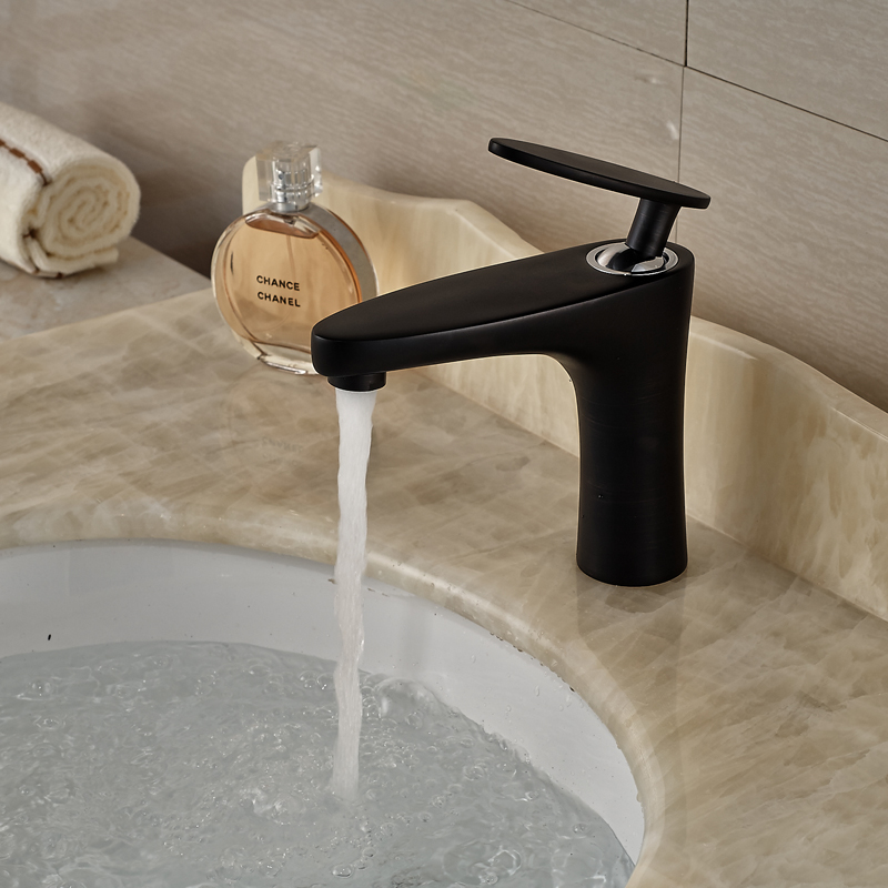 ФОТО Brand New Bathroom Brass Hot and Cold Water Basin Faucet Single Lever Deck Mounted Mixer Taps