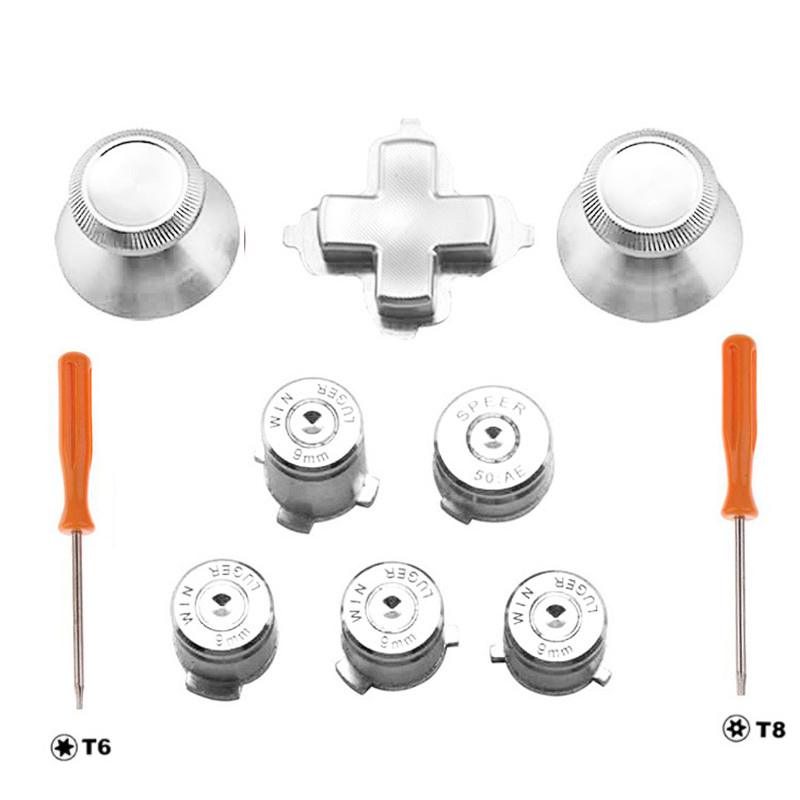 Silver Metal Thumbstick Joystick Analog Cap Bullet ABXY Guide Button D-Pad Dpad Button Screw Driver For Xbox One Controller