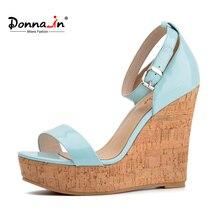 Donna-в 2017 летние новые стили из лакированной кожи Клин Босоножки Модные женские на платформе обувь на высоком каблуке