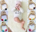 New Safety Round Bead Wooden Natural Baby Teething Ring Chewie Cute Teether Training Bunny Sensory Toy