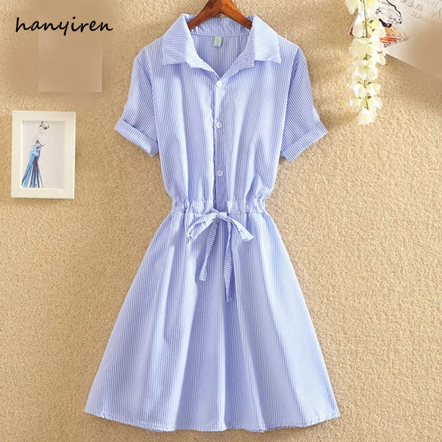 hanyiren Women 2018 Elegant Office Summer Dress Shirt Casual Blue Striped Dress With Bow Sweety Cotton Turn Down Collar Dress