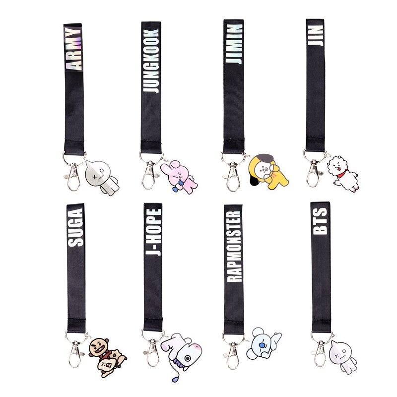 1 Pc Creative <font><b>Kpop</b></font> BTS Laser Lanyard COOKY SHOOKY Cute <font><b>Phone</b></font> Strap Key Chain Key <font><b>Ring</b></font> Ribbon Bag Car Pendant