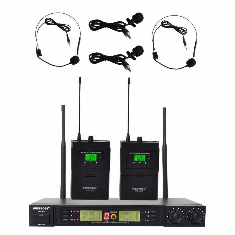 Freeboss FB U08 2 Way 200 каналов PLL ИК UHF беспроводной микрофон 2 боди передатчик с гарнитурой и микрофоном Lavalier