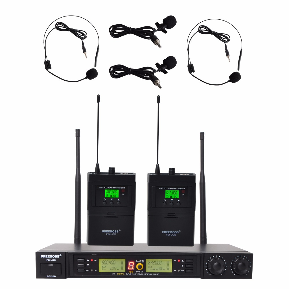 Freeboss FB-U08 2 Way 200 Channels PLL IR UHF Wireless Microphone 2 Bodypack Transmitter with Headset and Lavalier Microphone bardl us 132 2 channels uhf infrared frequency lcd 200 frequency adjustable wireless microphone handheld lavalier headset