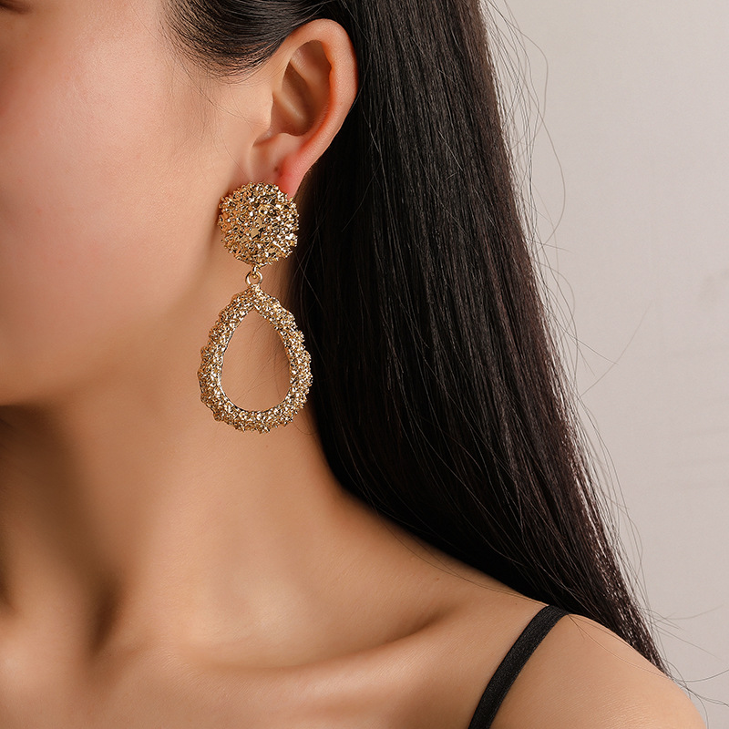 2019 New Best Selling Jewelry Alloy Drop-shaped Temperament Earrings Fashion Personality Pendant Manufacturers Wholesale
