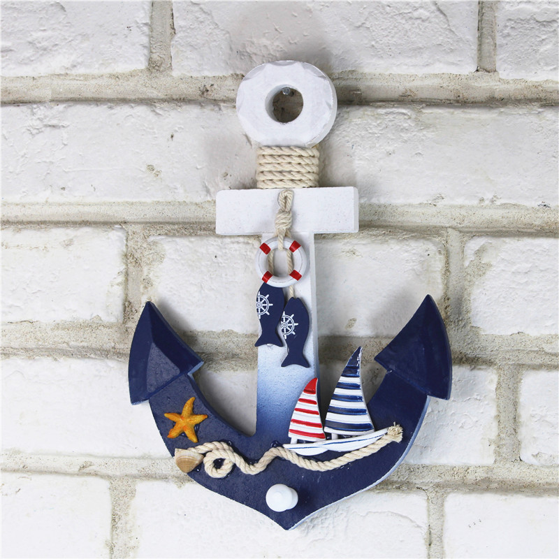 Mediterranean Shipping Home Furnishing Old Marine Anchor Furnishings Manual Anchor Wall Pendant Pendant Background Wall 28*19CM