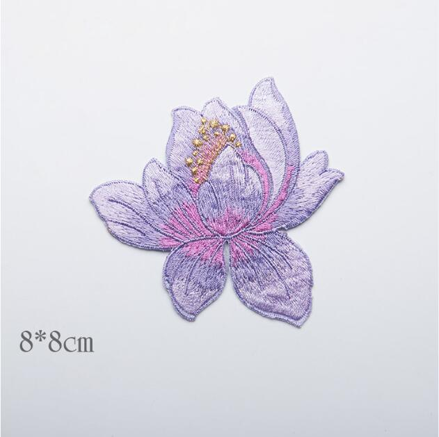 88cm Purple Lotus Flower Embroidered Iron On Patches For Clothes