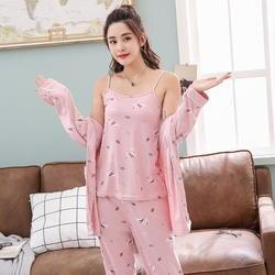 2019 Новинка весны Для женщин пижамы наборы Sexy 3 шт. с длинным рукавом халат комплект штаны Ночная рубашка; Пижама Домашняя одежда, ночное