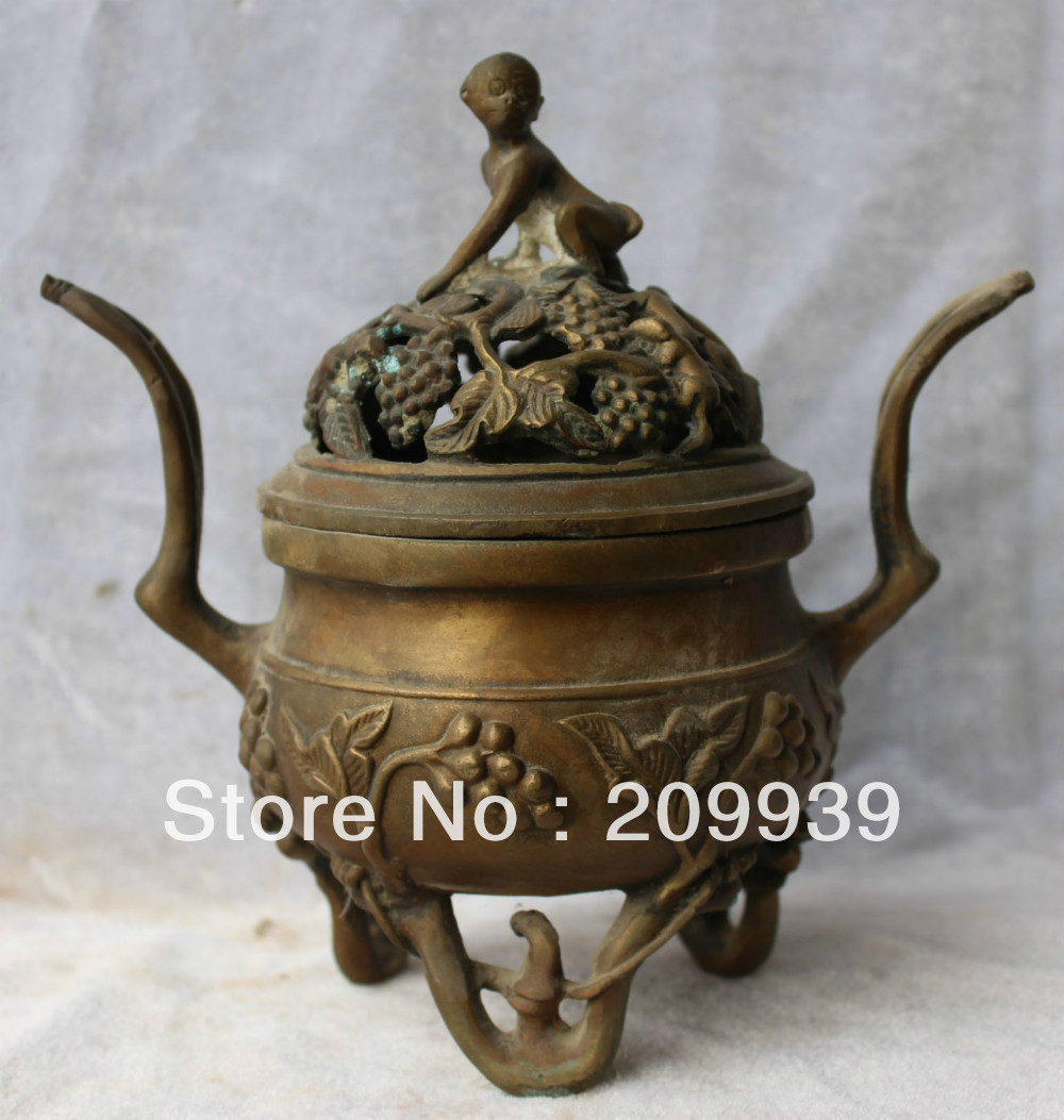 "00854 8"" Marked Chinese Bronze Monkey Grape Leaf Incense Burner Censer Sculpture statue (A0322) A0403"