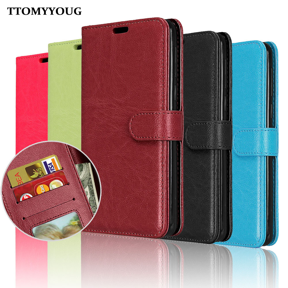 For Sony Xperia XZ2 Case Cover Luxury Plain Wallet Stand Hold PU Leather Silicone Flip Phone Bag For Sony XZ2 H8296 5.7 Cases